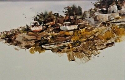 $225 • Buy Original Jerry Smith Coastal Watercolor Painting Listed Indiana Maine Artist