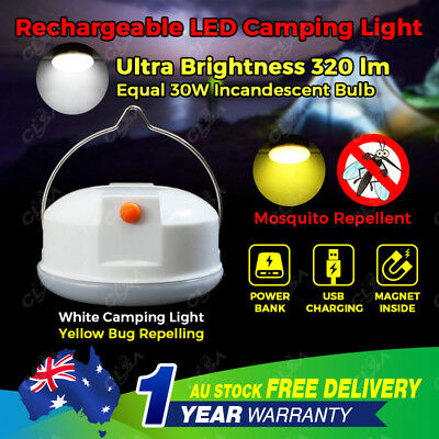 AU19.95 • Buy LED Hiking Camping Tent Lantern Light USB Rechargeable Power Bank Torch Mosquito