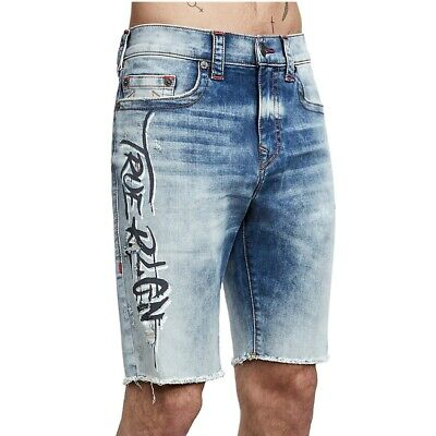 True Religion Men's Logan Acid Wash Graffiti Denim Jean Shorts In Dark Alley Art • 54.14£