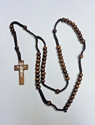 Wooden Cross Necklace Christian Catholic Rosary Crucifix Prayer Beads-3 Colours • 2.49£