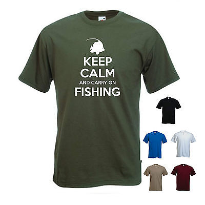 'Keep Calm And Carry On Fishing'. - Funny Fishing, Coral, Sea, T-shirt Tee'Keep  • 11.69£
