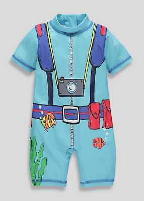 £7.99 • Buy Boys Divers Uva Uvb Surf Sun Suit All In One Swimwear Sizes 3-6mths To 4-5 Yrs
