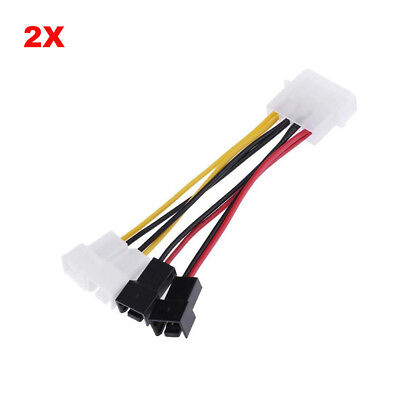 $5.98 • Buy 4Pin Molex To 3Pin Fan Power Cable Adapter Connector - 2pcs