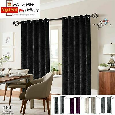 Crushed Velvet Curtains Pair Of Eyelet Ring Top Fully Lined Ready Made By FURZON • 39.49£