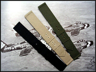 $13.42 • Buy Canvas WWII 2pc Military Watch Band Vintage Strap Nato IW SUISSE 16 18 20 22mm