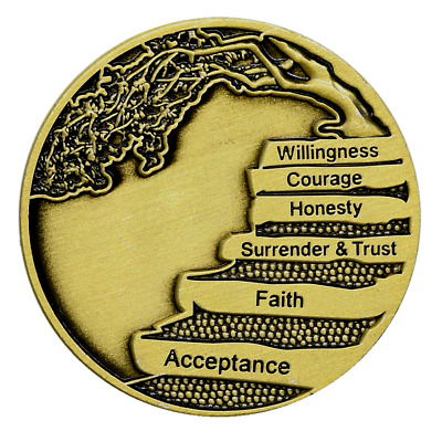 $5.75 • Buy AA 12 Steps W/the Principles Bronze Alcoholics Anonymous AA Coin Token Medallion