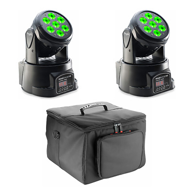 2x Stagg Headbanger 10 4-in-1 LED Moving Head Wash 7 X 10W RGBW Inc. Carry Bags • 249£