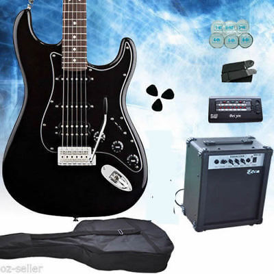 AU142 • Buy Full Size Black Electric Guitar With Amp Tuner Bag Strap Pickup Package Set