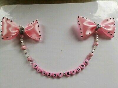 £6 • Buy Personalised Pram Charms Bling Bow Girls And Boys