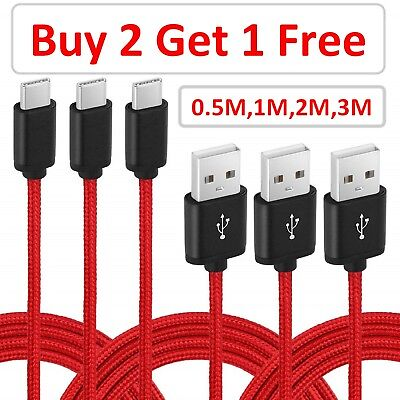 AU5.32 • Buy Heavy Duty Braided Type C USB Charger Cable 0.5M 1M 2M 3M Fast Charging RED