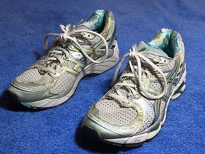 $29.99 • Buy Women's Asics Gel-Kayano 17 Size 9 White Silver Aqua Teal Running Shoes