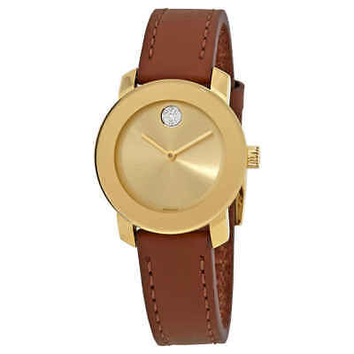 5f9591006 Movado Bold Gold Dial Brown Leather Ladies Watch 3600437 • 175.12$