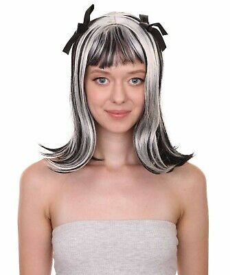 Women Gothic Ghost Witch Bride Zombie Two Tones Wig Pigtail With Ribbons HW-3633 • 21.61£