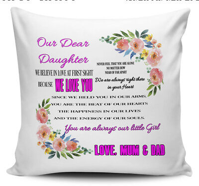 £7.99 • Buy Our Dear Daughter, Never Feel You Are Alone...Love Mum & Dad Cushion Cover