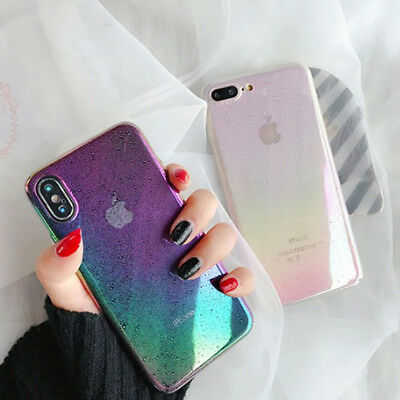AU6.28 • Buy Girls Colorful Gradient Rainbow Soft Phone Case Cover For IPhone 6 6s 7 8 Plus X