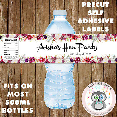 Personalised Water Bottle Labels Hen Party Floral Decoration Favours Gifts  • 3.10£