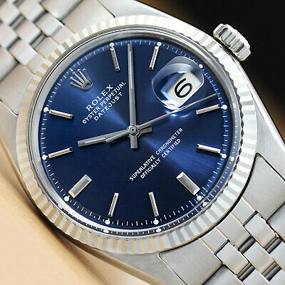 $ CDN5256.87 • Buy Rolex Mens Blue Dial Datejust 18k White Gold & Stainless Steel Authentic Watch