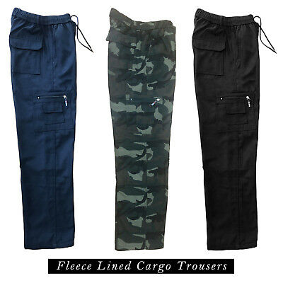 £13.99 • Buy Mens Fleece Lined Cargo Bottoms Elasticated Walking Trousers Combat Work Pants