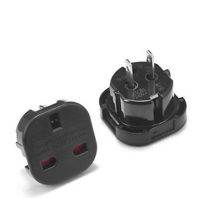 Travel Adapter Black Plug Converts UK Plugs 3 Pin To 2 Pin US, USA/Canada/AU • 2.99£