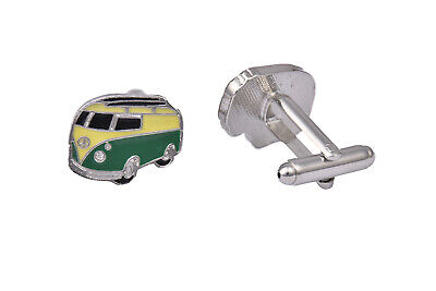 £9.99 • Buy Mens Silver Plated Cufflinks Camper Van Spy Shirt Gift Novelty Wedding Pair UK