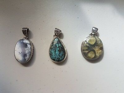 $ CDN65 • Buy Lot Of Genuine Gemstone 925 Sterling Silver Pendants
