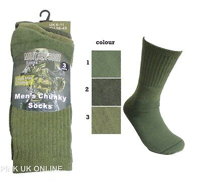 Mens Military Army Green 3 Pairs Boot Socks • 3.90£