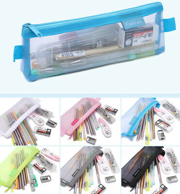 £3.99 • Buy Clear Exam Bag Student Transparent Mesh Pencil Case Net Cosmetic Makeup Pouch