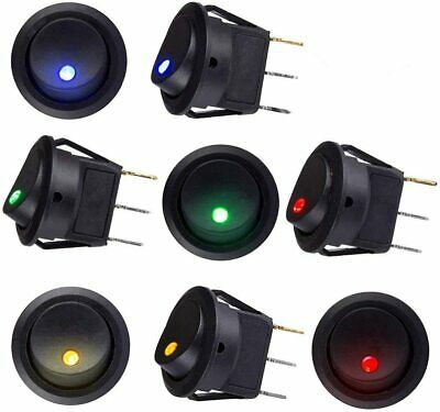 12V DC LED Lighted Dot Round Rocker Switch Button Car Van Boat 5 X Switches • 3.78£