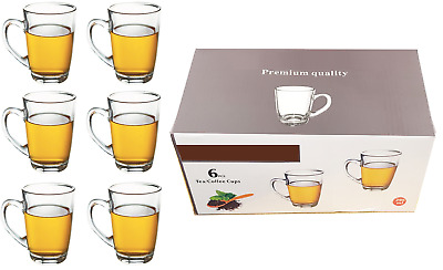 £12.95 • Buy 6 X Glass Tea Coffee Cups Cappuccino Cups Hot & Cold Drink Mugs Clear Set 295ml