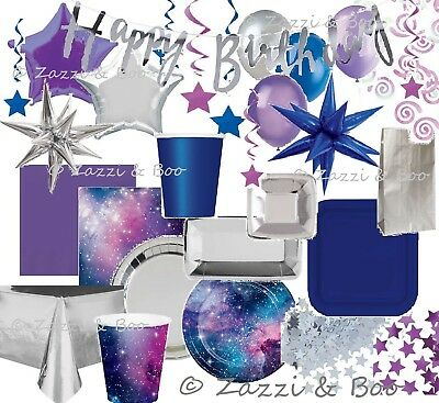 £2.89 • Buy Silver Blue GALAXY STAR SPACE Party Birthday Balloons Plates Napkins Tableware