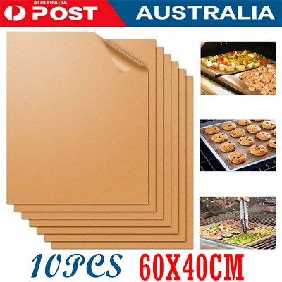 AU22.99 • Buy 10PCS BBQ Grill Mat Reusable Bake Sheet Resistant Teflon Meat Barbecue Non-Stick