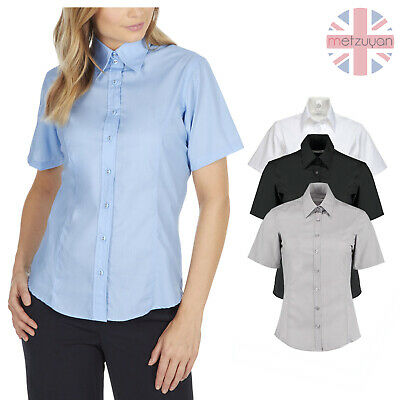 £7.99 • Buy Womens Ladies Plain Short Sleeved Shirt Work Formal Office Business Tailored Fit
