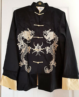 Men's Chinese Style Embroider Outwear Stand Collar Slim Jacket Coats  • 25.99£