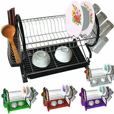 New 2 Tier Chrome Plate Dish Cutlery Cup Drainer Rack Drip Tray Plates Holder • 11.98£