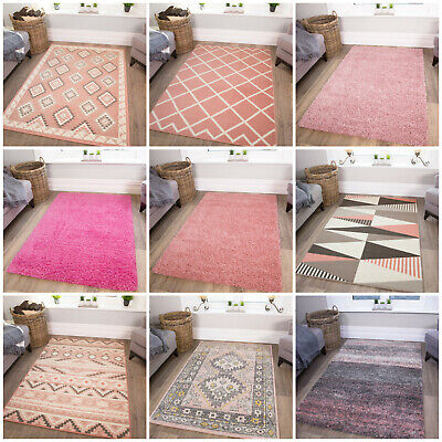 Blush Millennial Pink Living Room Rugs Soft Non Shed Cosy Bedroom Rug Cheap Mats • 19.95£