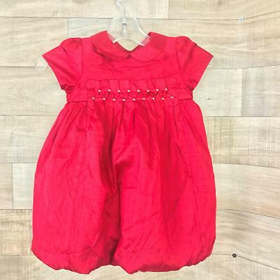 5ff1b8c99e60 Janie & Jack Girls Silk Holiday Party Smocked Red Size 12-18 Months Bubble  Dress