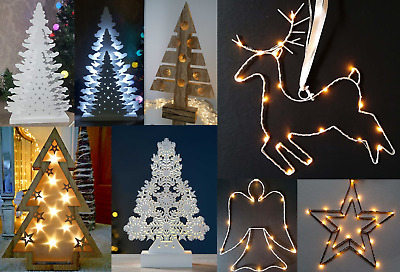 Wooden Table Top Christmas Tree & Metal Wire Pre Lit Decoration LED Festive Xmas • 10.85£