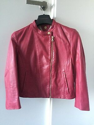 AU80 • Buy Massimo Dutti Red Leather Jacket Sz EU XS