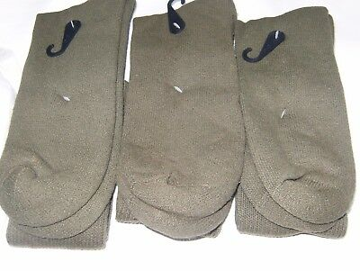 3-Pack Men Olive Drab US Made Military Boot Socks GI Army Anti-Fungal Green NYCO • 20.44£