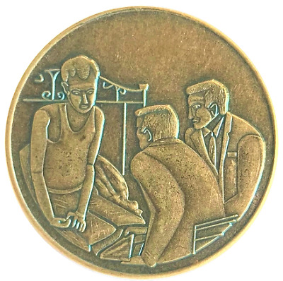 $4.75 • Buy Alcoholics Anonymous Man On Bed Antique Bronze AA Coin Recovery Token Chip