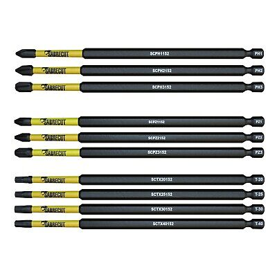 SabreCut Mixed Impact Screwdriver Bits 152mm PZ2 PH2 Torx Milwaukee DeWalt • 3.99£