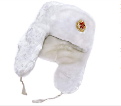 Amazing Faux Fur Warm Russian Military White Hat With Soviet Badge . • 9.99£