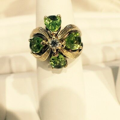 $750 • Buy Estate 4.20TCW Peridot And Diamond 18K Yellow Solid Gold Hand Made Flower Ring