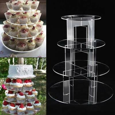 £15.99 • Buy Clear Acrylic Round Cupcake Stand Display Wedding&Party 4 Tier Cup Cake Stand
