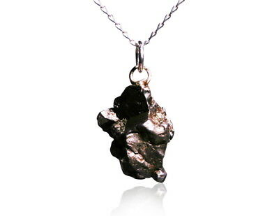 Meteorite Necklace Spacerock On Solid Silver Chain - RS6505 ✔100% Genuine  • 35.95£