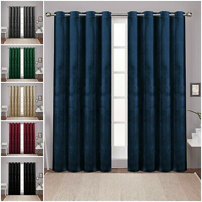 Heavy Thick Thermal Blackout Curtains Ready Made Eyelet Ring Top Curtains Pair • 16.99£
