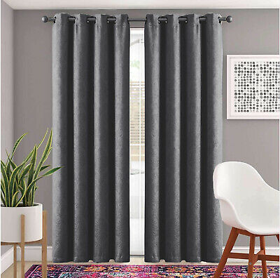 Heavy Thick Thermal Blackout Curtains Ready Made Eyelet Ring Top Curtains Pair • 20.99£