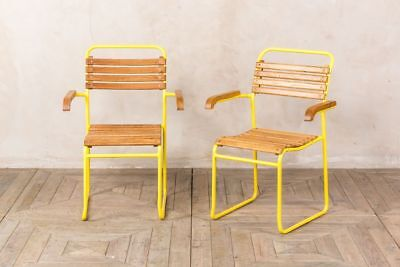 £95 • Buy Stackable Dining Chairs With Arms Painted Vintage Style Armchairs