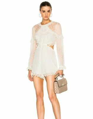 NWT Authentic Zimmermann Divinity Scallop Ruffle Playsuit AU 01 2 • 199.97$