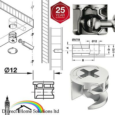 Hafele 12mm X 9.5mm CAM LOCK FIXING FURNITURE FITTING DOWEL ASSEMBLY 4 FLAT PACK • 3.72£